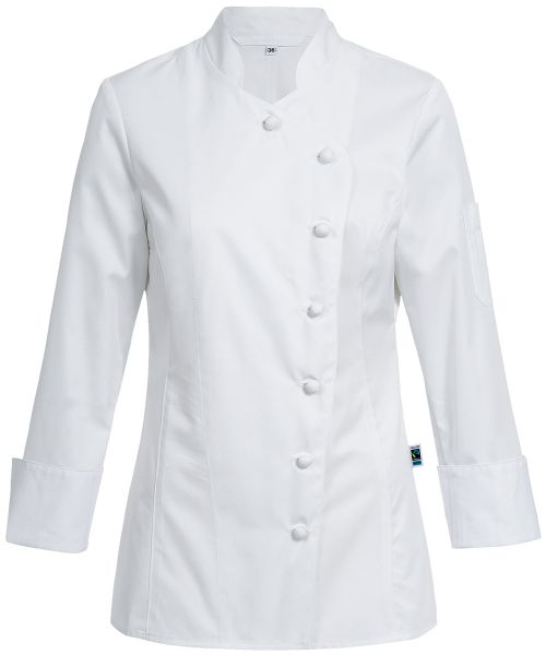 Exquisit Damen-Kochjacke mit Stoffknöpfen